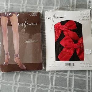 Leg Avenue 2 Pantyhose - Red Fishnet & Satin Bows